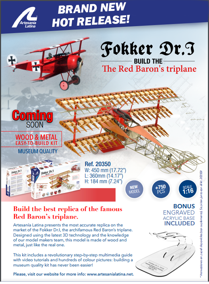 WWI Fokker DR-1 Wooden Aircraft Model Kit