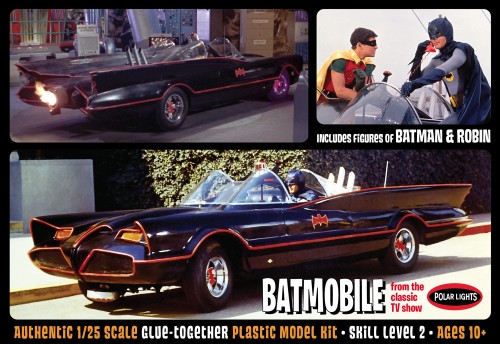 Batman 1966 Batmobile w/ Batman and Robin figures