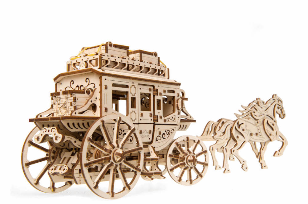Stagecoach mechanical model kit from Ugears