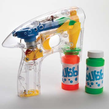 Flashing LED Bubble Gun + 2 Extra Bonus  Bottles of Bubble Mix