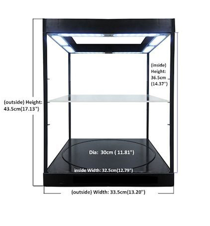 Display Case Large Rotary with LED and Adjustable Shelf