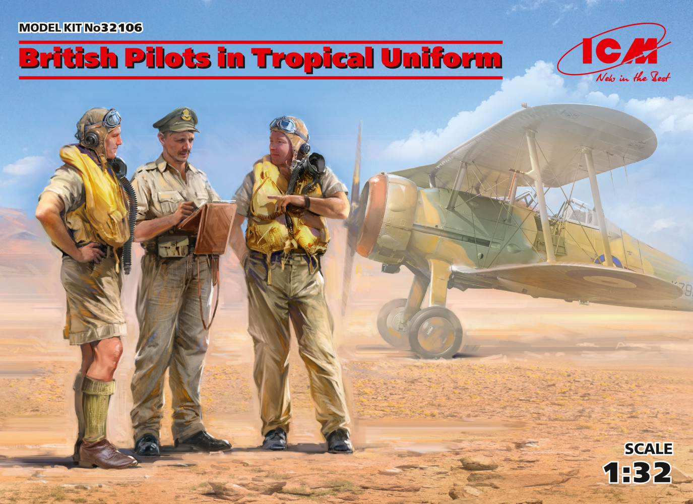British Pilots in Tropical Uniform (1939-1943) (3 figures)