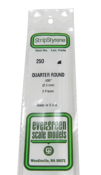 "250 0.100"" Quarter round section 3 per pack"