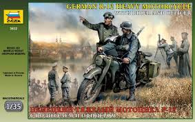 German R-12 Heavy Motorcycle with rider and officer