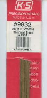 Round Brass Tube 2mmx300mm, pack of 4