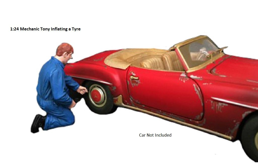 Tony Inflating a Tyre Mechanic Figure